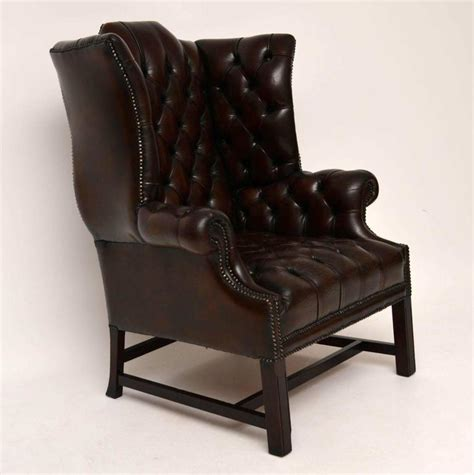 leather wing armchair antique deep buttoned leather wing back armchair at 1stdibs
