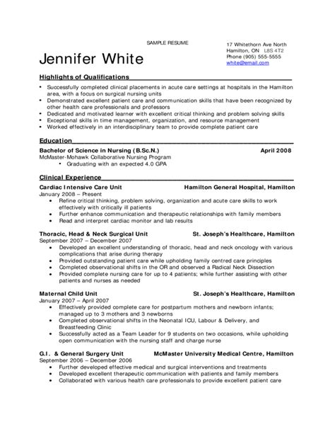 Sle Resume Of Fresh Graduate Student Resume For Nursing Students 28 Images Sle Nursing Student Resume 8 Exles In Word Pdf Great