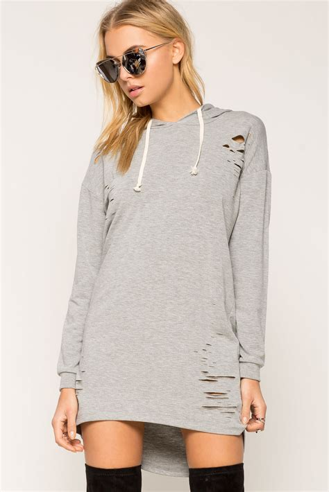 Dress Of The Day White Hoodie Dress by S Day Dresses Kourtney Distressed Hoodie Dress A