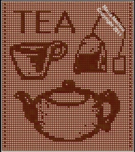 free filet crochet curtain patterns filet crochet filet crochet a tea pot curtain free pattern