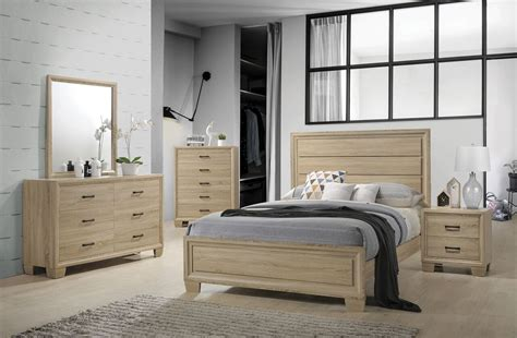 Coaster Vernon 206351 White Washed Oak Bedroom Set Queen Washed Oak Bedroom Furniture
