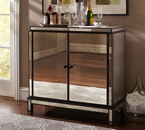 Mirrored Bar Cabinet Marnie Mirrored Bar Cabinet Pottery Barn