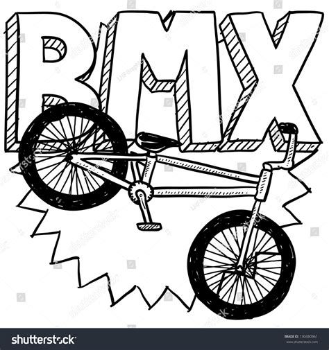 doodle motorcycle doodle style bmx bike sports illustration stock vector