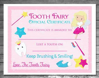free printable tooth certificate template invitations and favors printable by pinkskyprintables