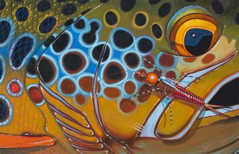 Dekorasi Dinding Abstract Painting 4in1 brown trout derek deyoung