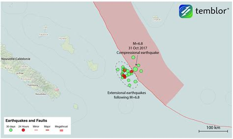 earthquake new caledonia m 6 8 compressional earthquake near new caledonia triggers