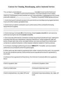 cleaning contract templates free contract templates word pdf agreements