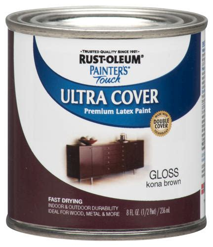 rust oleum 174 painter s touch gloss kona brown ultra cover paint 1 2 pt at menards 174