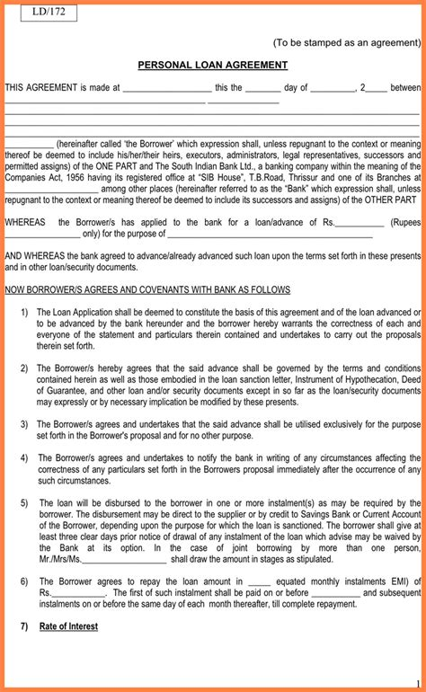 loan agreement with collateral template 7 personal loan agreement with collateral purchase