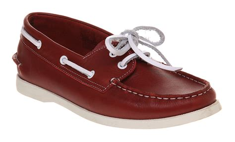 red boat shoes womens womens ymc boat shoe red leather ebay