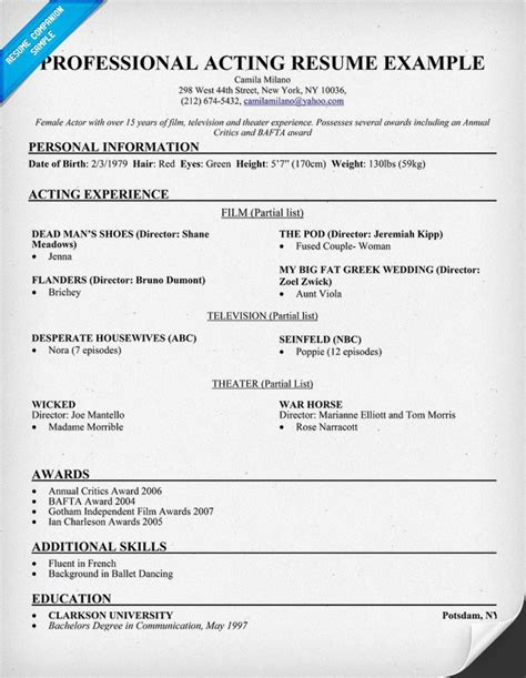 Talent Resume Template by Talent Resume Exles Exles Of Resumes