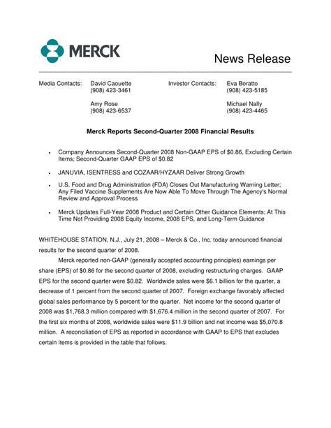 Merck Licensing Press Release | merck 2q08 earnings announcement