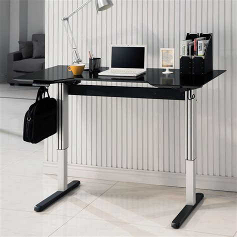 Computer Desk Outlet Office Home Adjustable Height Computer Writing Standing Desk Power Outlet Black Ebay