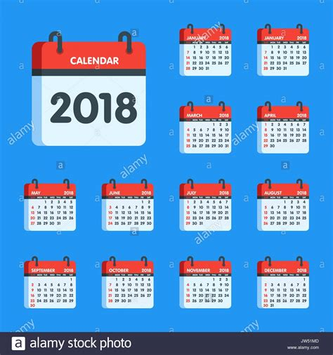 calendar for 2018 year icon set january february march