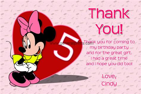 Minnie Mouse Thank You Card Template by Minnie Mouse Birthday Invitations General Prints
