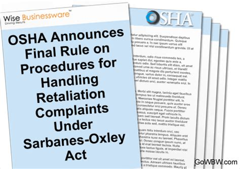 section 806 of the sarbanes oxley act osha announces final rule on procedures for handling