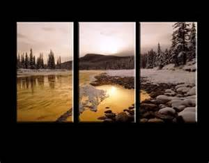 landscape canvas prints on golden lake split triptych canvas wall