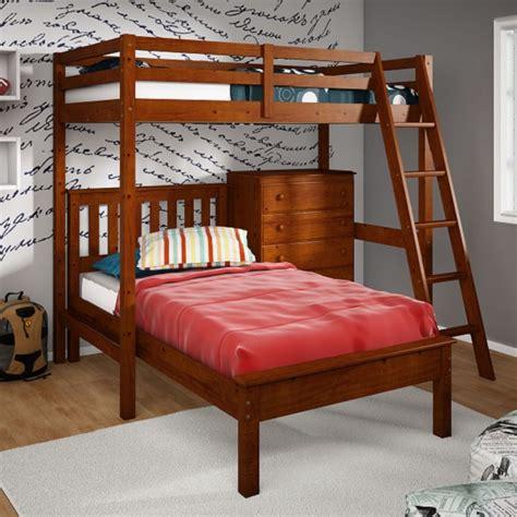 Twin Size Loft Bed Platform Bed 5 Drawer Chest Bunk Bed Platform