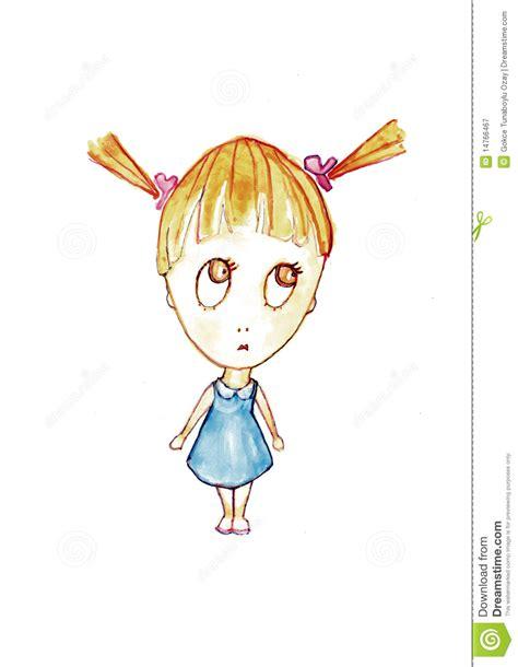 cute cartoon girl thinking royalty free stock photos cute and thinking little girl royalty free stock