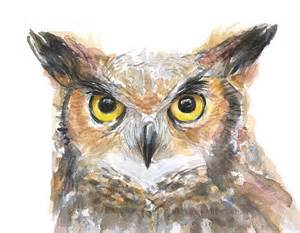 water color owl owl watercolor print great horned owl bird painting