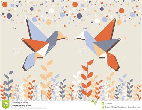 Origami Au - couples de colibri d origami au dessus de beige photo