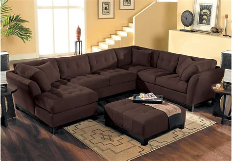 living room sets sectionals cindy crawford home metropolis chocolate 4 pc sectional