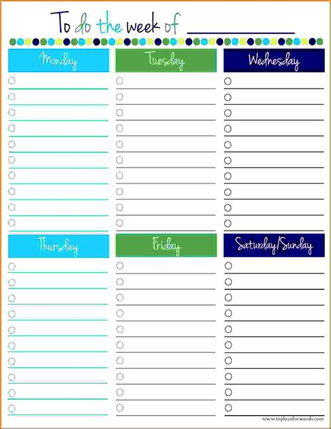 printable monday through friday to do list 10 weekly planner template monday to friday lease template