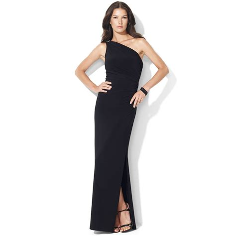 one shoulder evening gown by ralph one shoulder evening gown in black