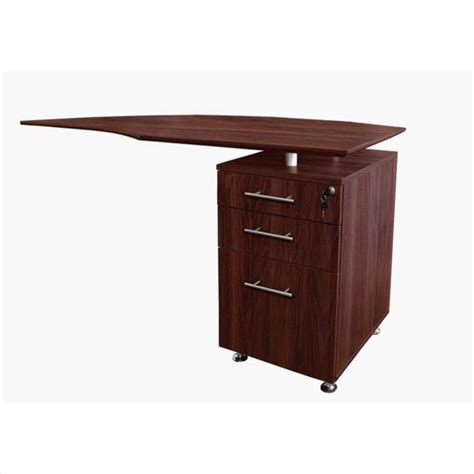 Right Return Desk by Mayline Medina Curved Desk Return With Pedestal Right In Mahogany Mnrtprlmh
