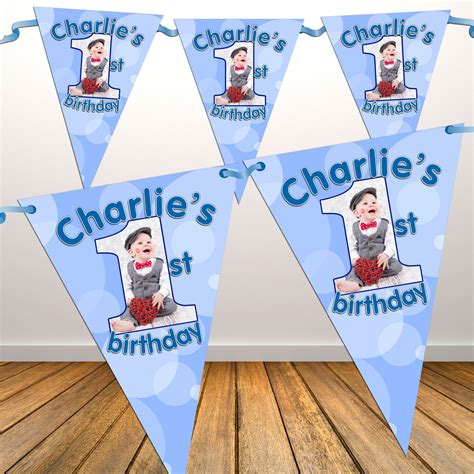 Personalized Bunting Flag Sofia The Birthday Banner personalised boys 1st birthday flag photo bunting banner n20