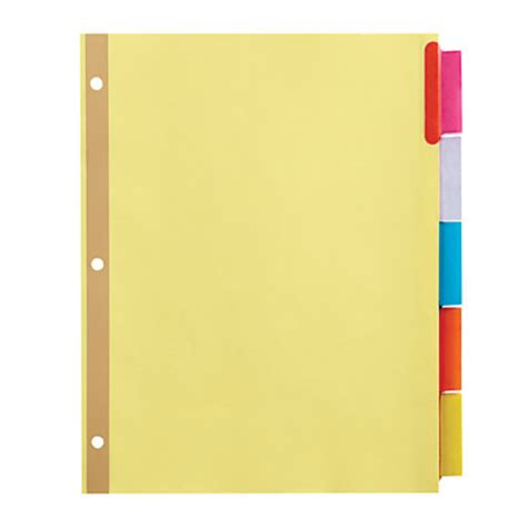 office depot brand insertable dividers with big tabs buff