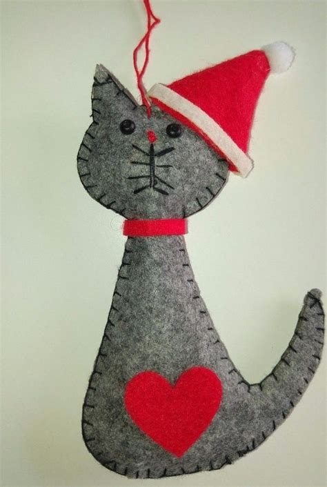 grey santa cat felt christmas tree decoration love heart