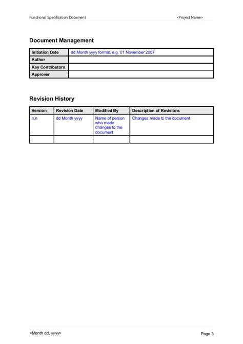 functional specification template functional specification document template