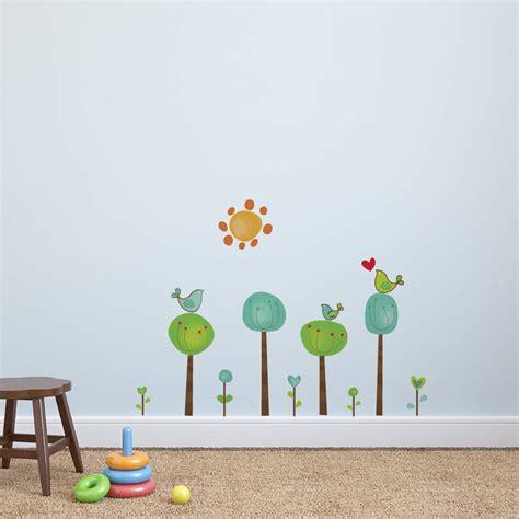 childrens tree wall stickers childrens bird tree wall stickers by parkins interiors notonthehighstreet