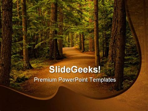 template forest free forest path way nature powerpoint template 0810