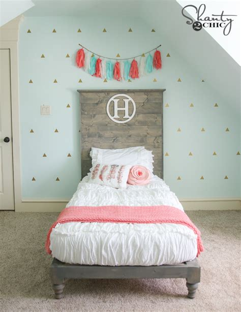 how to make twin headboard diy twin platform bed and headboard shanty 2 chic