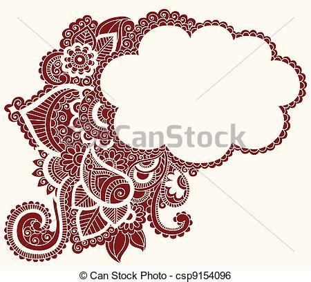 clip art vector of henna mehndi tattoo doodles cloud