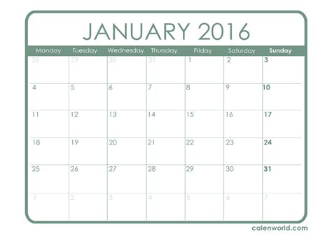 printable monthly calendar january 2016 january 2016 calendar printable calendars