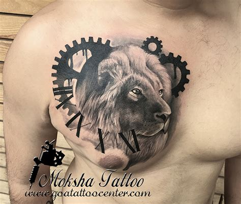 indian lion tattoo done by mukesh waghela at moksha studio