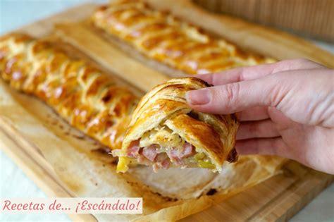 hojaldre relleno salado trenza de hojaldre rellena de jam 243 n queso y puerros