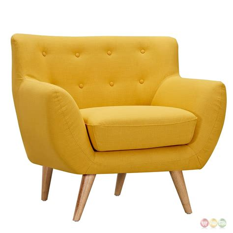 Modern Yellow Armchair Ida Modern Yellow Button Tufted Upholstered Armchair W