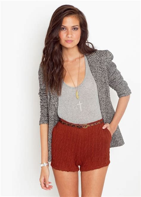 cable knit shorts orange cable knit sweater shorts with side pockets and
