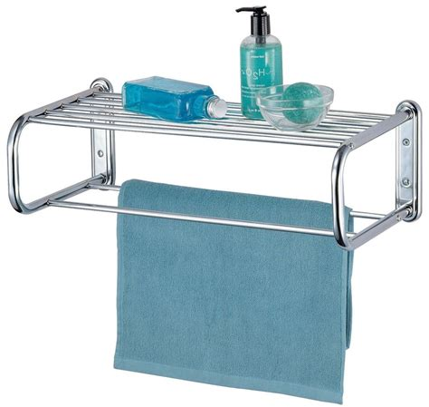 Chrome Wall Mounted Bathroom Shelf And Towel Rail Rack Bathroom Towel Storage Rack