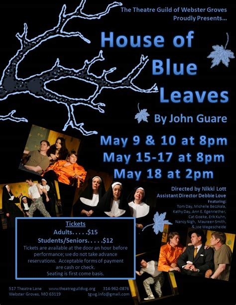 the house of blue leaves house of blue leaves flyer theatre guild of webster grovestheatre guild of webster