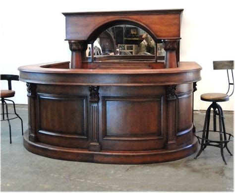 bar for sale horseshoe front and back pub bar wine rack mirror antique