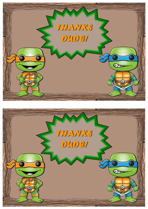 Mutant Turtles Thank You Cards