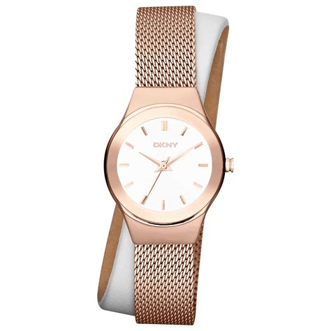 Dkny Dk033 Pink Rosegold dkny womens white leather and gold ionplated stainless steel mesh wrap 28mm in