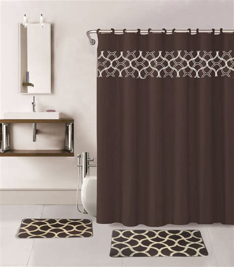 Bathroom Sets With Shower Curtain And Rugs And Accessories Chocolate 15 Geometric Bathroom Set W Bath Rugs Shower Curtain Rings Ebay