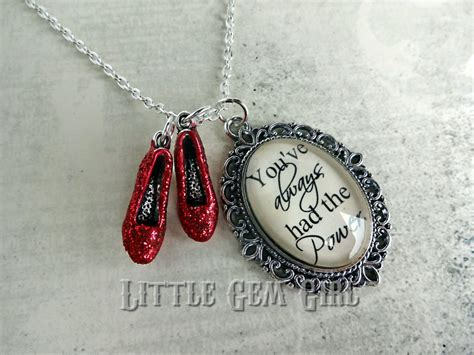 ruby slipper necklace wizard of oz necklace ruby slipper oz quote by