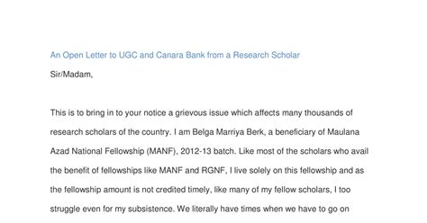 Permission Letter Ugc Net an open letter to ugc and canara bank from a research